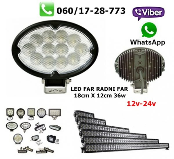 LED FAR 18CM X 12CM 36W RADNI FAR WORKING LIGHT RADNO SVETLO