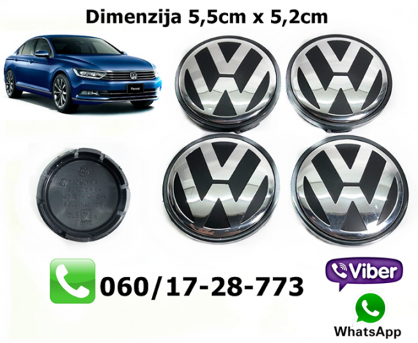 VW CEPOVI ZA FELNE SET 4 KOMADA 5,5CM X 5,2CM